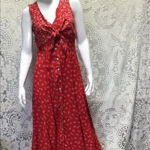Robbie Bee Red Floral Button Front Dress